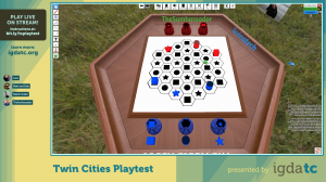 A screenshot from Blither played in Tabletop Simulator on YouTube as part of the Twin Cities Playtest event in May 2021.